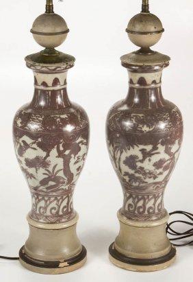 Japanese Porcelain Lamps, Pair