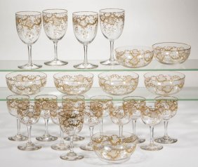Baccarat-style Gilt-decorated Crystal Partial Service,