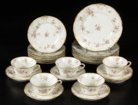 French Limoges Porcelain Partial Service, Lot Of 23