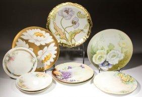 French Floral Gilt Porcelain Plates, Lot Of Nine