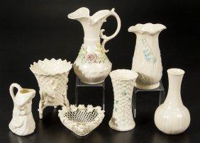 Irish Belleek Porcelain Articles, Lot Of Seven