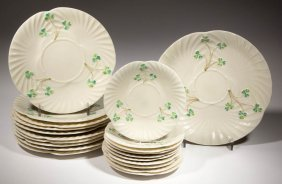 Irish Belleek Porcelain Plates, Lot Of 21