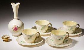 Irish Belleek Ceramic Cups And Saucer Sets, Lot Of Four