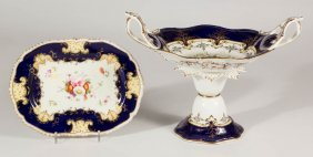 English Porcelain Compote And Platter, Lot Of Two