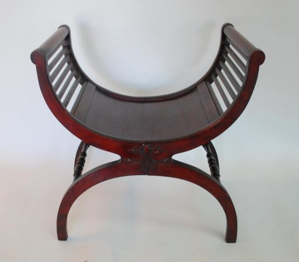 Shaped Chairs: 225: Carved Wood U Shaped Chair : Lot 225