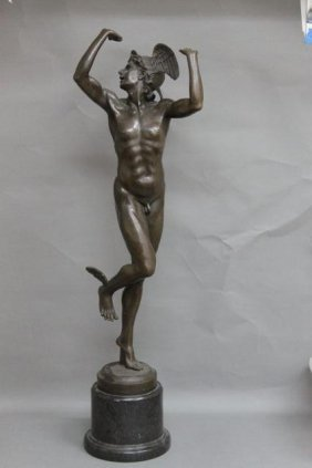 Victorian Style Bronze Figure Of Mercury,