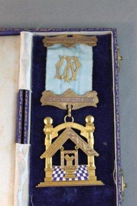 Stunning Masonic Gold, Enamel And Gilt Badge,