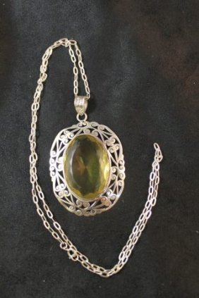 Large Citrine And Silver Pendant And Chain,