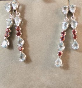 Pair Of Blue Topaz And Ruby Earrings,