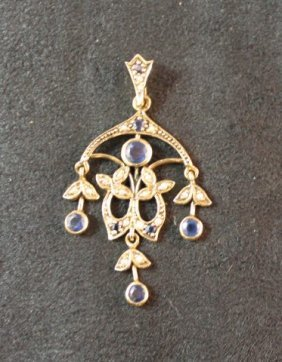 9ct Gold, Sapphire And Seed Pearl Pendant,