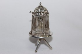 Delightful French Silver Miniature Birdcage.