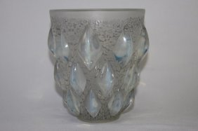 "Rene Lalique ""rampillon"" Opalescent Vase,"