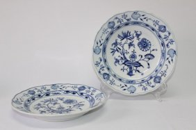 Pair Of Meissen Blue And White Onion Pattern