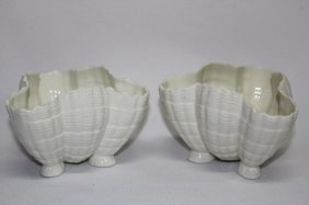 Pair Of Royal Worcester Shell Form Vases,