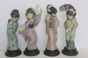 Set Of Four Lladro Porcelain Figures,