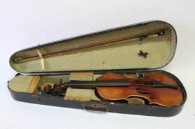 Good 19th Century Full Size Violin And Bow,