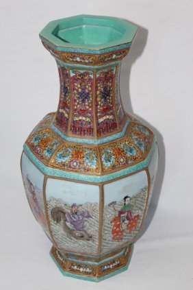 Chinese Porcelain Facetted Vase,