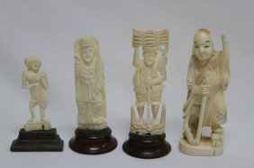 Four Various Ivory Figures,