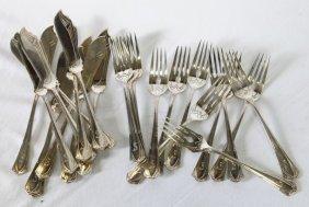 Set Of Twelve Art Deco German Sterling Silver Fish