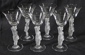Suite Of Six French Bayel Figural Wine Glasses,