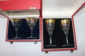 Two Boxed Pairs Of Moser Wine Glasses,