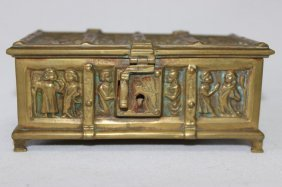 Gothic Revival Brass Casket,