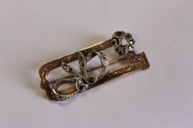 Edwardian 9ct Gold And Sterling Silver Brooch,