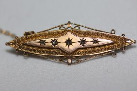 Victorian 9ct Gold And Seed Pearl Brooch,