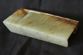 Chinese Jade Scholars Brush Rest And Well,