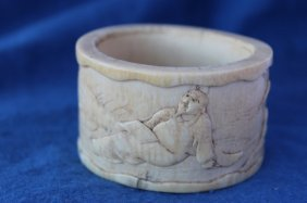 Chinese Carved Ivory Bangle,