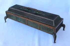 Chinese Cast Copper Censer And Cover,