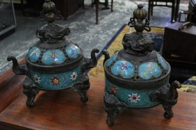 Pair Of Chinese Cloisonne And Bronze Censors And