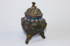 Chinese Cloisonne And Brass Censer And Cover,