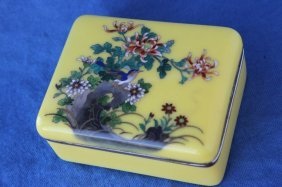 Japanese Enamel And Silver Box And Cover,