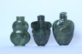 Three Spinach Jade Snuff Bottles,