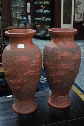 Pair Of Chinese Redware Vases,