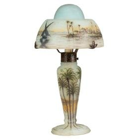Fine Daum Nancy Lamp with Middle Eastern Seascape