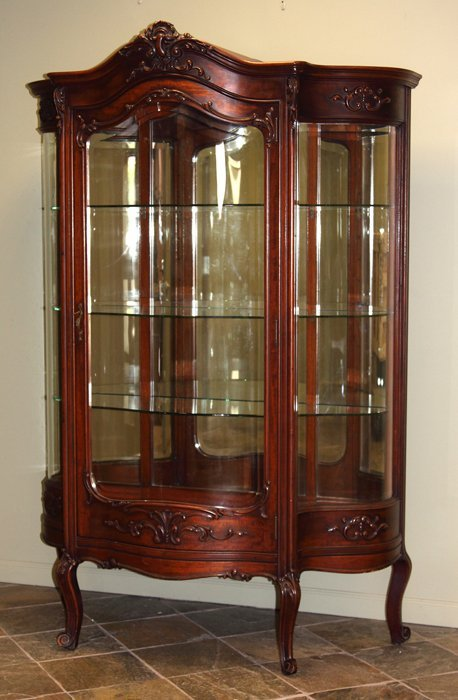 victorian serpentine china cabinet lot 84