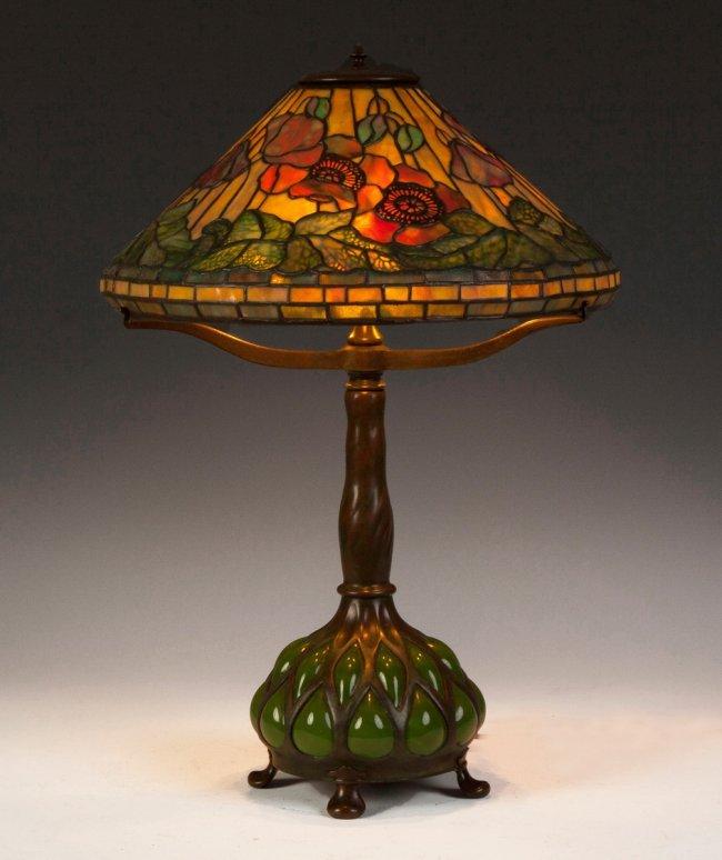 Fine Tiffany Studios Poppy Lamp : Lot 502