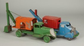 Vintage Painted Pressed Steel Backhoe Trucks