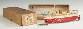Ives Scout Patrol Tin Toy Clockwork Boat