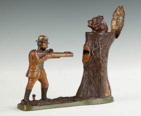 Teddy & The Bear Cast Iron Mechanical Bank