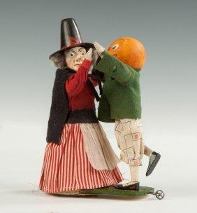 Wood, Paper Mache & Cloth Clockwork Dancing Halloween