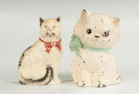Two Vintage Painted Cast Iron Cat Banks