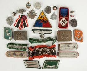 Group Of German Badges And Ephemera