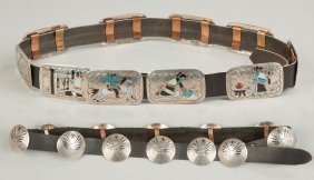 Two Navajo Silver & Turquoise Belts