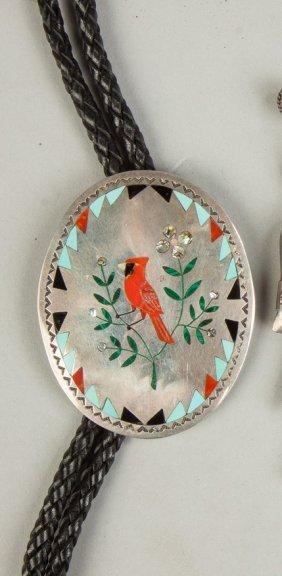 Vintage Navajo Silver & Turquoise Bolero With Cardinal