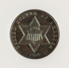 1864 Silver Three Cent