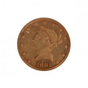 1891-cc Base Liberty Head Ten Dollar