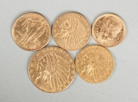 Group Of Five Gold Coins